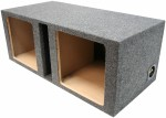 "Dual 12"" Square Cutout Vented Subwoofer Box Enclosure (Gray)"