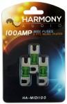 Harmony Audio HA-MIDI100 Stereo Fuseholder 3 Pack 100 Amp MIDI Fuses - Nickel Plated