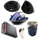 "Yamaha Wave Runner PWC Marine Rockford R152 &  PBR300X4 Amp Custom 5 1/4"" Black Speaker Pods Package"